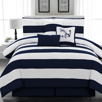 nautical-striped-comforter Nautical Bedding Sets & Nautical Bedspreads
