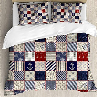 patchwork-nautical-duvet-cover Nautical Bedding Sets & Nautical Bedspreads