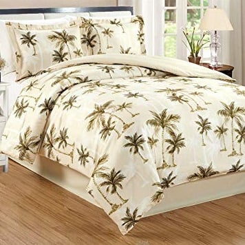 4-Piece-King-Size-Fine-Printed-Tropical-Palm-Tree-Comforter-Set Palm Tree Bedding Sets & Comforters & Quilts