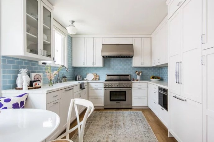 Coastal-Kitchen-Blue-Backsplash-by-Fireclay-Tile 65 Beach Themed Kitchen Ideas
