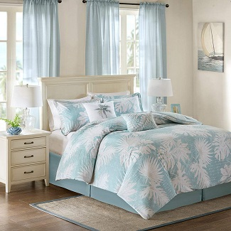 Harbor-House-Palm-Grove-Queen-Size-Bed-Comforter-Set-Aqua-Tropical-Palm-Tree-Leaf-Floral Palm Tree Bedding Sets & Comforters & Quilts