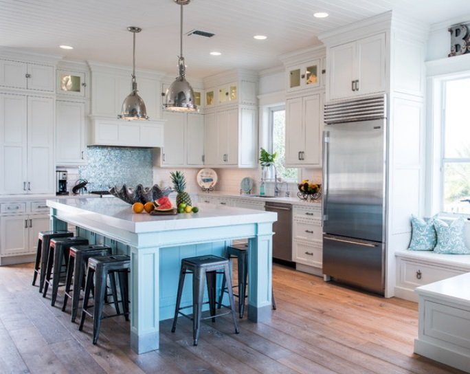 Intracoastal-Beach-Home-by-Waterview-Kitchens 65 Beach Themed Kitchen Ideas