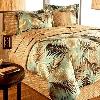 Lauren-Cole-Tropical-Palm-Tree-Leaf-Palm-Leaves-Ocean-Beach-Coastal-Bedding-Comforter-Set-Bed-in-a-Bag Palm Tree Bedding Sets, Comforters, Quilts & Duvet Covers