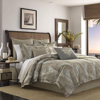 Tommy-Bahama-Raffia-Palms-Comforter-Set-Queen-Brown Palm Tree Bedding Sets, Comforters, Quilts & Duvet Covers
