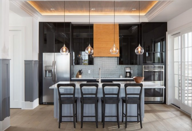 Transitional-Beach-Home-by-David-Cannon-Photography 65 Beach Themed Kitchen Ideas