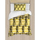 grunge-retro-striped-background-with-pineapple-figures-vintage-hippie-graphic-duvet-cover-set 50+ Pineapple Bedding Sets, Quilts, and Duvet Covers