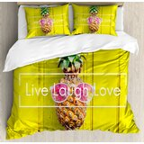 live-laugh-love-tropical-pineapple-with-sunglasses-on-wood-board-joyful-print-duvet-cover-set 50+ Pineapple Bedding Sets, Quilts, and Duvet Covers