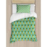 pineapple-geometric-hipster-design-tropical-climate-fruits-pattern-retro-summer-duvet-cover-set 50+ Pineapple Bedding Sets, Quilts, and Duvet Covers