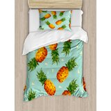 retro-poly-style-pineapples-motif-vintage-beach-summer-modern-illustration-duvet-cover-set 50+ Pineapple Bedding Sets, Quilts, and Duvet Covers