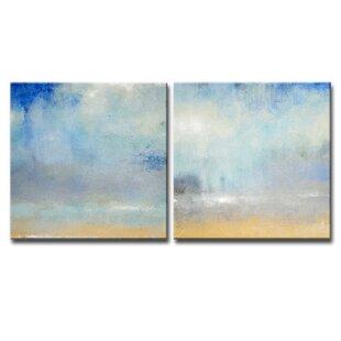 27CoastalDownpour27-2PieceWrappedCanvasPaintingPrintSet Beach Paintings & Coastal Paintings