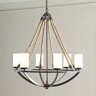 Anita-6-Light-Shaded-Classic-Traditional-Chandelier-with-Rope-Accents 150+ Beach Chandeliers & Coastal Chandeliers