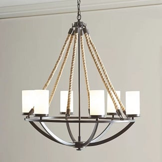 Anita-6-Light-Shaded-Classic-Traditional-Chandelier-with-Rope-Accents Beach Chandeliers & Coastal Chandeliers
