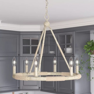 Boularderie-6-Light-Candle-Style-Wagon-Wheel-Chandelier-with-Rope-Accents 150+ Beach Chandeliers & Coastal Chandeliers