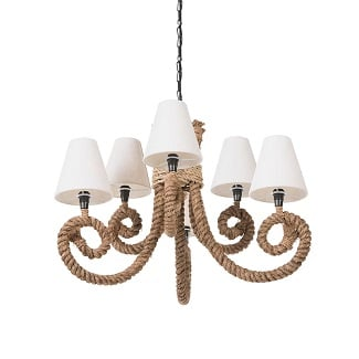 Crenshaw-6-Light-Shaded-Classic-Traditional-Chandelier-with-Rope-Accents Beach Chandeliers & Coastal Chandeliers
