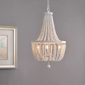 Distressed-White-Wood-Louis-3-Light-Empire-Chandelier 150+ Beach Chandeliers & Coastal Chandeliers