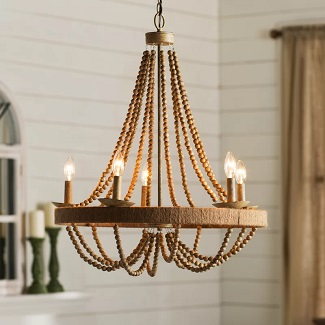 Duron-5-Light-Candle-Style-Wagon-Wheel-Chandelier-with-Beaded-Accents 150+ Beach Chandeliers & Coastal Chandeliers