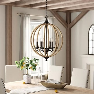 Lynda-6-Light-Candle-Style-Globe-Chandelier-with-Rope-Accents 150+ Beach Chandeliers & Coastal Chandeliers