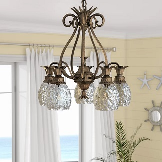 Pearl-Bronze-Terry-5-Light-Shaded-Classic-Traditional-Chandelier Beach Chandeliers & Coastal Chandeliers
