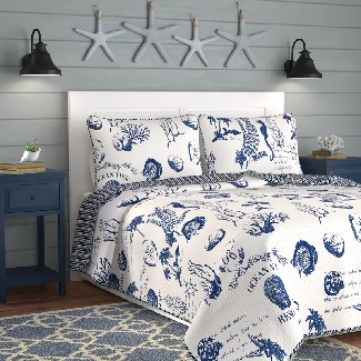 Blue-Canfield-Reversible-Quilt-Set Best Beach Quilts & Nautical Quilts