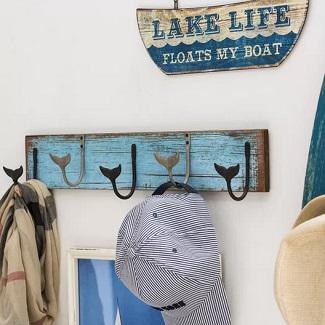 Diep-MDF-Wall-Hanger-with-5-Metal-Whale-Tail-Wall-Hook Beach Wall Hooks & Beach Towel Hooks