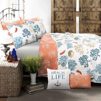 Queen-Albury-7-Piece-Reversible-Quilt-Set Best Beach Quilts & Nautical Quilts