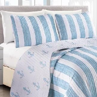 Queen-Quilt-2-Shams-Blue-Obadiah-Reversible-Quilt-Set Best Beach Quilts & Nautical Quilts