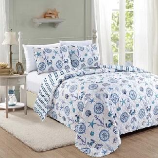 Queen-Quilt-2-Shams-Capps-Reversible-Quilt-Set Best Beach Quilts & Nautical Quilts