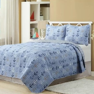Quilt-Set-3-Additional-Pieces-Haggerty-Anchor-Reversible-Quilt-Set Beach Quilts & Nautical Quilts & Coastal Quilts