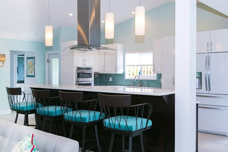 Teal-Color-Beach-Kitchen-by-Flourish-Delray-Design-in-South-Florida-Colorways Beach Kitchen Decor and Coastal Kitchen Decor
