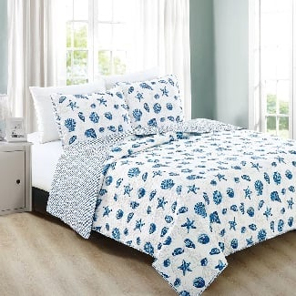 Twin-Blue-Juliana-Reversible-Quilt-Set Beach Quilts & Nautical Quilts & Coastal Quilts