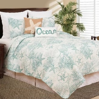 Twin-Quilt-1-Sham-Jeterson-Reversible-Quilt-Set Best Beach Quilts & Nautical Quilts