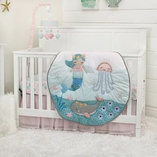Amburgey-Mermaid-4-Piece-Crib-Bedding-Set Mermaid Crib Bedding and Mermaid Nursery Bedding Sets
