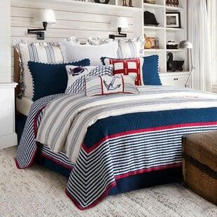 AnsleyBlue_White_Red100CottonReversibleCoastalQuiltSet Nautical Bedding Sets & Nautical Bedspreads