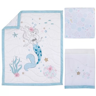 Ariel-Sea-Princess-3-Piece-Crib-Bedding-Set Mermaid Crib Bedding and Mermaid Nursery Bedding Sets