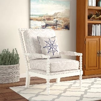 Beige-Paisley-Shellplant-Slipper-Chair Coastal Accent Chairs & Beach Accent Chairs