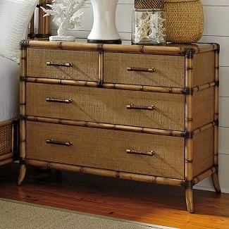 Bermuda-Sand-Twin-Palms-4-Drawer-Dresser Coastal Dressers & Beach Dressers