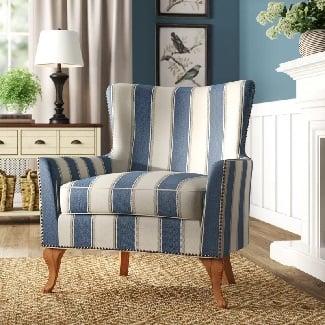 Blue-Striped-Zubair-Wingback-Armchair Coastal Accent Chairs & Beach Accent Chairs