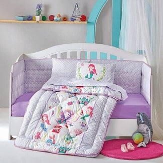 DecoMood-Princess-Mermaid-Cotton-Nursery-Crib-Set Mermaid Crib Bedding and Mermaid Nursery Bedding Sets