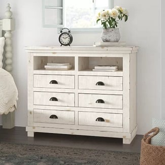 Distressed-White-Castagnier-6-Drawer-Chest Coastal Dressers & Beach Dressers