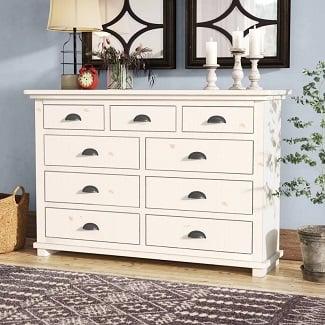 Distressed-White-Castagnier-9-Drawer-Double-Dresser Coastal Dressers & Beach Dressers