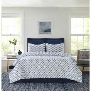 DonleyNavy_WhiteStandardCottonReversibleModernContemporaryQuiltSet Nautical Bedding Sets & Nautical Bedspreads