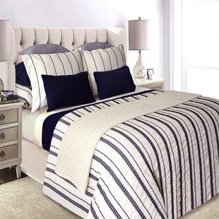 HughleyNavy_CreamCottonFarmhouse_CountryDuvetCover Nautical Bedding Sets & Nautical Bedspreads