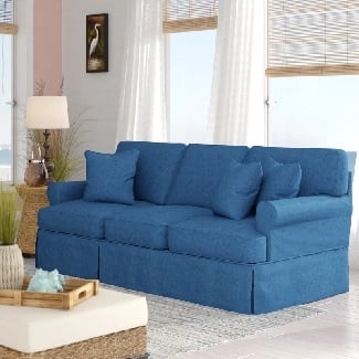 Indigo-Blue-Rundle-Slipcovered-Sofa Coastal Sofas & Beach Sofas