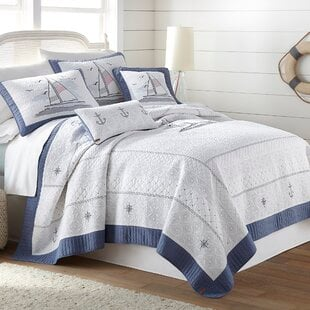 KeilaBlue_White100CottonQuilt Nautical Bedding Sets & Nautical Bedspreads