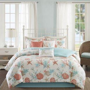 KeyportTealBlue_SalmonPink_Taupe210TC7PieceComforterSet Nautical Bedding Sets & Nautical Bedspreads