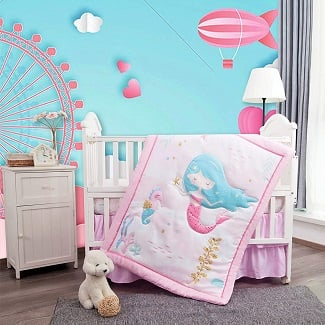La-Premura-Mermaid-Baby-Nursery-Crib-Bedding-Sets-for-Girls Mermaid Crib Bedding and Mermaid Nursery Bedding Sets