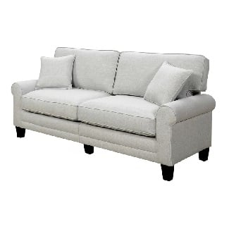 Light-Gray-Buxton-73-Rolled-Arm-Sofa Coastal Sofas & Beach Sofas