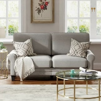 Light-Gray-Buxton-78-Rolled-Arm-Sofa Coastal Sofas & Beach Sofas