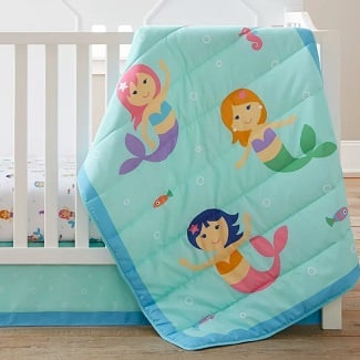 Mermaids-3-Piece-Crib-Bedding-Set Mermaid Crib Bedding and Mermaid Nursery Bedding Sets