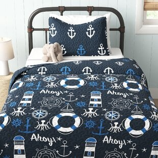 MiramarNavy_WhiteHypoallergenicMicrofiberReversibleQuiltSet Nautical Bedding Sets & Nautical Bedspreads